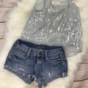 Decree Cutoff Light Wash Jean Short Shorts